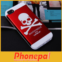 For Apple iPhone Metal For Christmas Skull Skeleton phoen case cover for iphone 5 5S Hybrid Metal Plastic Cases Cover with credit card case cover