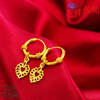 Wholesale Gold plated K gold earrings handmade jewelry national wind ear ring opening fade eventually becoming heart shaped models