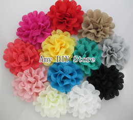 Wholesale New quot Eyelet Flower with alligator clips fabric flowers hair clips kids hair styling hairpins girls flower hair clips HH046 CM