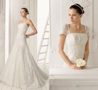 Wholesale 2014 Hot Sale A line Detachable Short Applique Sleeves Lace Wedding Dresses Exquisite Sweep Train Lace Bridal Gowns