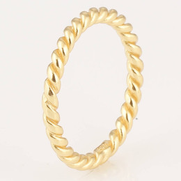 Wholesale threaded silver rings threaded gold plated made of solid sterling silver fit European style jewelry RIP001