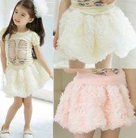 Wholesale Baby Lace Pettiskirt Tutu Skirt Girls Rose Flower Skirts Children Princess Skirts Kids Dance Party Dress Child Ballet Skirts