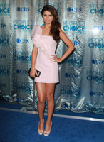 Reference Images selena gomez - Selena Gomez Sexy Cheap Sheath One Shoulder Ruffles Pink Satin Short Cocktail Dresses Party Dresses