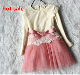 Wholesale 2013 Fast EMS Shipping Kids Lace Butterfly Tulle TUTU Dress Girls Long Sleeve Princess Clothes Children Baby Dresses Girl Clothing