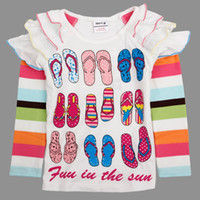 Girl Spring / Autumn Standard F4252# Nova brand new arrival fashion baby clothes 2y-6y girls t-shirt slipper shoes printing strass cute tops cotton long sleeve autumn tee