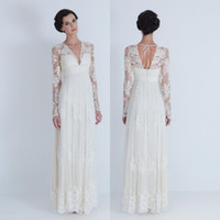 Wholesale 2014 Sheer Wedding Dresses V neck Long Sleeve Pleated Appliqued Lace A Line Floor Length Tulle Bridal Gowns