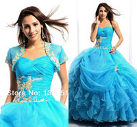 Reference Images Sweetheart Organza 2014 Sexy Blue With Jacket Short Sleeve Ball Gown Organza Lace Up Backless Applique Sweetheart Sheer Quinceanera Dresses Prom Dress Gowns