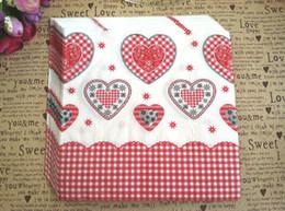 Wholesale 10 pieces Double Heart Shaped Printed Paper Napkin Square Handkerchief Wedding Party Banquet Paper Serviette Napkins Supplies