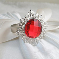 Wholesale 50pcs Silver Plated Red Vintage Style Napkin Rings Wedding Bridal Shower Napkin holder Bling Acrlic Crystal Napkin Rings