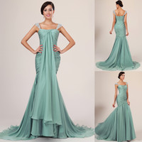 Wholesale 2014 New Arrival Fashion Beads Pleated Evening Dresses Mermaid Square Neckline Cap Sleeve Long Sheer Chiffon Formal Evening Dress Gowns