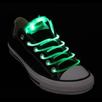 Wholesale In pair Green LED Optical Fiber Light Up flash Waterproof Shoelaces glow in the dark Feet Long Battery Powered WS1G