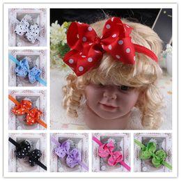 Infant Bow Headbands Girl Flower Headband Children Hair Accessories Newborn Dot Bowknot Flower Hairbands For Photography Props 12colors