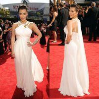 Cheap 2014 Halter Chiffon White Crystals Kim Kardashian Formal Evening Gowns Backless Celebrity Dresses Vestidos De Fiesta Prom Red Carpet Dress