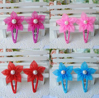 Barrettes fabric Floral 2014 New Children Korean Style Fabric Hair Clips Hot Sale Silk Yarn Baby Girls Flower Barrettes