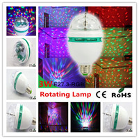 Wholesale FEDEX Free Prismatic shell W E27 RGB LED Crystal Stage Laser Light Auto Voice activated Rotating DJ party stage Light Bulb for Christmas