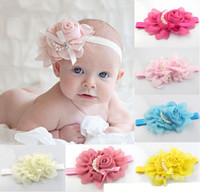 Wholesale New Baby Girls Kids Adorable Hair Bands Vintage Roses Pearls Flowers Infant Children Hair Accessories Pretty Headbands Multicolor B0151