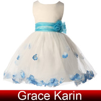 Wholesale Short Jewel Sleeveless Flower Girl Dresses Blue and White Kids Ball Gowns Princess Girls Birthday Dresses Satin Voile CL4607