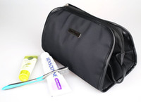 Wholesale Black Comestic Bags Stytlish PVC Leather Banding Convenient Fabric Handle Polyester Lining New Arrival Discount