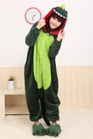 Wholesale Keeping Warm Pajamas Cheap Funny Lovely Green Dinosaur Cosplay Costume unisex Adult Onesie Sleeping Wear Bridal Undergarments