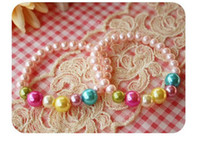 Plastic little girl jewelry - Korean Children s Girls Pink Pearl Bracelet Jewelry Little Princess Kids Jewelry Child Faux Pearl Candies Jewellery Bracelet