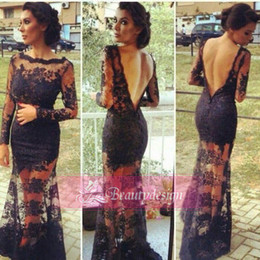 Wholesale Super sexy black lace sheath prom dresses bateau long sleeves backless floor length formal occasion evening party gowns BO3423