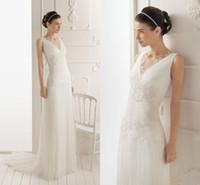 A-Line Reference Images V-Neck Cheap! Custom Made - Sheath Column V-neckline Applique Sweep Train Chiffon Wedding Dress Elegant Fold Sleeveless Bridal Gowns With Free Veil