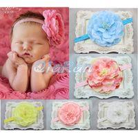 Wholesale Peony Flower Baby Headband Floral Girl Hair Band Big Flower Infant Headband Photo Props Girl Hair Accessory HB008