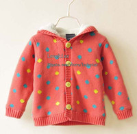 Cardigan Girl Winter Kids Clothes Polka Dot Cardigan Children Clothing Sweater Coat Long Sleeve Cardigan Knitted Sweaters Girls Hooded Cardigan Wool Sweaters