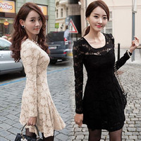 Casual Dresses Bateau Mini Fashion Women Ladies Long Sleeve Full Lace Fitted Skater Skirt Dress