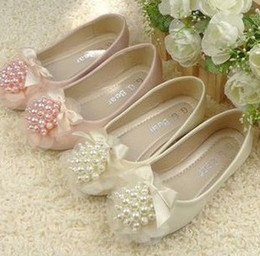 Wholesale Hot Girl Leather Shoes Pearl Bow Shoes Kids Cute PU Step In Footwear Elastic Bands Kids Shoes