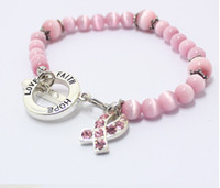 Beaded, Strands Celtic Women's Wholesale - Breast cancer awareness charm bracelet hope faith love pearl cat eye stretch band beaded bracelets mix model mix color cheap