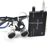 3.5X 420mm 80mm New Dental Surgical Medical Binocular Loupes 3.5X 420mm + LED Head Light Lamp Black