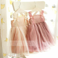 Wholesale Vintage Baby Girls Kids Summer Dresses Suspender Lace Tiered Veil Ball Gown Dress Adorable Ballet Vest Tutu Dress Pretty Party Dress
