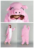 Wholesale 2016 Hot Sell Lovely Pink Pig Kigurumi Theme Costume Animal Pajamas Cosplay Halloween Costumes For Women