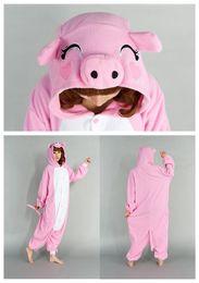 Wholesale Hot Sell Lovely Pink Pig Kigurumi Pajamas Animal Cosplay Costume unisex Adult Onesie Dress Or Sleeping Home Dress