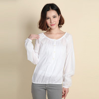 Cotton Women Ruffles Free shipping 2013 women's long sleeve cotton fashion style women slim blouse formal Size XS-XXL WCL040