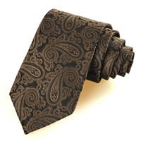 Wholesale 100 Microfiber New Brown Paisley JACQUARD WOVEN Necktie ties for men brands gravata tie silm cravat men skinny tie D321