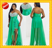 Reference Images Sweetheart Chiffon Custom Plus Size HOT Sale Green Sweetheart Chiffon High Low Crystal Bling 2014 Chiffon Short Evening Dress Prom Party Formal Dresses Gown
