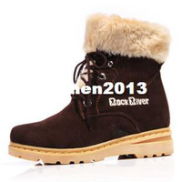 Wholesale Genuine leather female boots river rock roll up hem flat heel boots lyrate women s shoes thermal snow boots