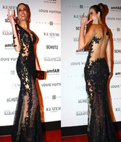 Wholesale 2014 New Arrival Black See Through Mermaid Evening Dresses Applique Lace One Shoulder Long Sleeves Floor Length Sheer Tulle Celebrity Dress
