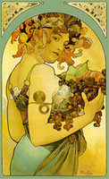 Wholesale Contemporary Oil Paintings Reproduction Hand Painted Figure of the Alphonse Maria Mucha Fruit Oil Painting on Canvas No Frame DHP034
