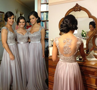 Reference Images Beads Sleeveless 2014 zuhair murad Sexy Scoop Gorgeous Back Beads Emboridery Floor-Length Chiffon Bridesmaid Dresses