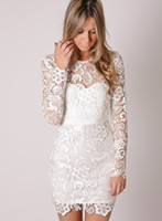 Wholesale charming Hot white long sleeve lace sheath crew mini sexy cocktail party dress wedding evening gown Christmas cheap