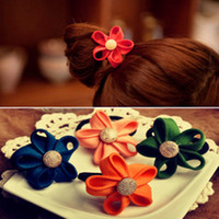 Wholesale Colored Flower Elastic Hair Bands Metal Button Flower Hair Rubber Bands Fashion Hair Ornaments Hairband RD1203
