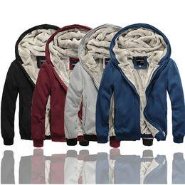 Wholesale NEW Men s Sherpa Lined Faux Fur Thickened Thick Winter Warm Fleece Hoodies Hooded Sweatshirt Sweats Tops Blazer