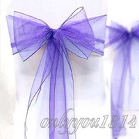 Wholesale 100pcs quot cm W x quot cm L Lavender Organza Chair Sashes Wedding Party Banquet Decoration Supplies
