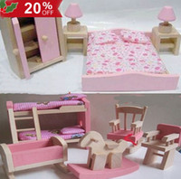 Wholesale 20 Off Hot Sale Wooden Dolls House Furniture Kid Room Bedroom Pretend Play Toy Set Miniature Wooden Toy for Cildren CWYE0201