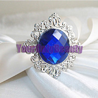 Wholesale High Quality Royal Blue Dark Blue Silver Plated Vintage Style Napkin Rings Wedding Bridal Shower Napkin holder New