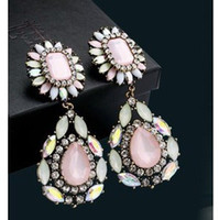 Wholesale Womens Pink Crystal Dangle Earring Rhinestone Diamond Flowers Gemstone Drop Lulu Frost Earrings Jewelry Hot Sale