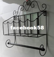 Wholesale Fashion home rustic wrought iron towel rack wall magazine rack bathroom shelf rack